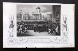 Tyrrell Crimean War 1858 Print. Departure of the Grenadier Guards, Trafalgar Square